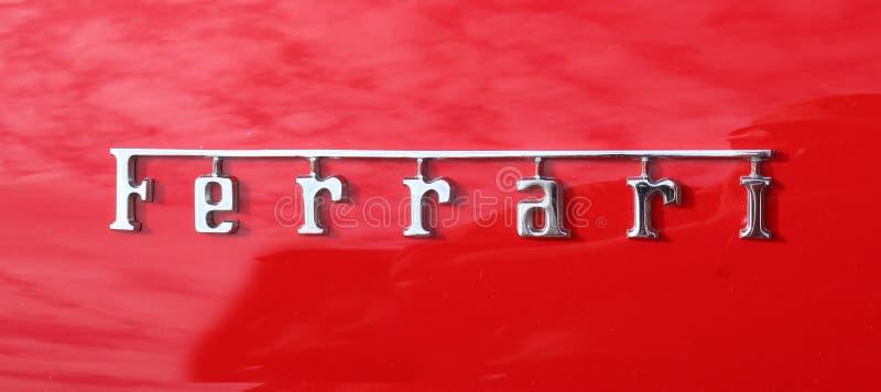 Ferrari chromu literowania odznaka zdjęcia stock