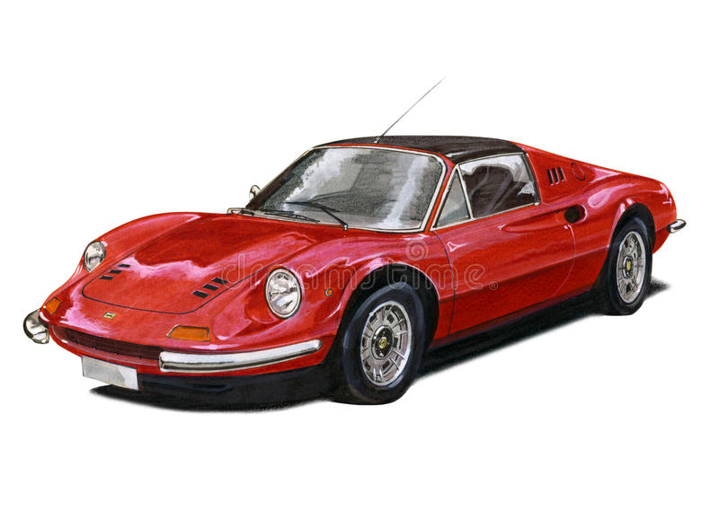 Ferrari Dino illustration stock