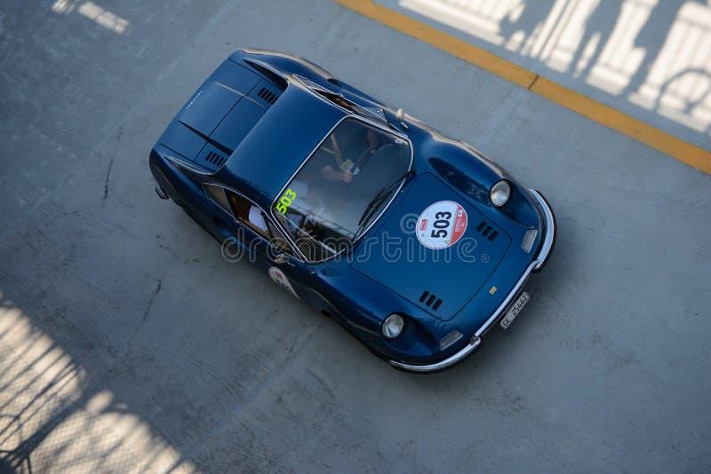 Ferrari Dino 246 GT at the Mille Miglia Tribute competition stock photo