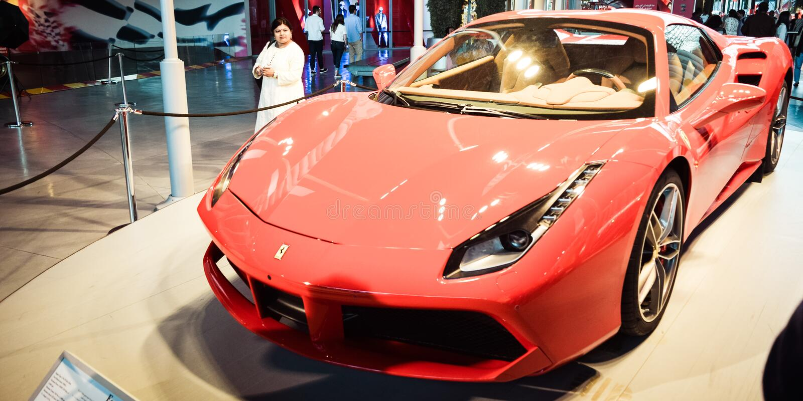 Ferrari Enzo is on display at Auto Show. inside a pavilion for the visitors stock images