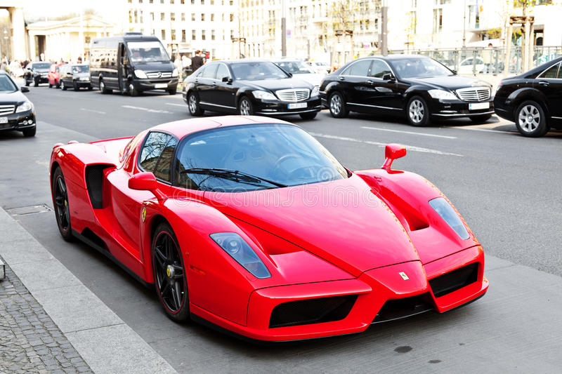 Ferrari Enzo in the streets of Berlin stock photography