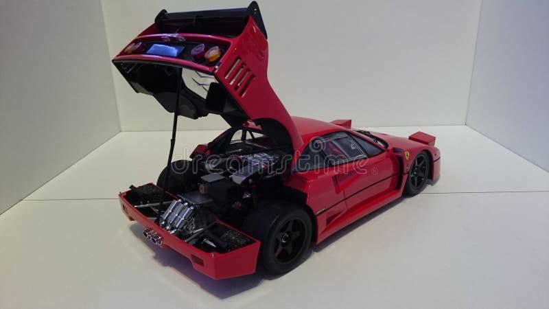Ferrari F40 röd springa bil- öppnad motorräkning fotografering för bildbyråer