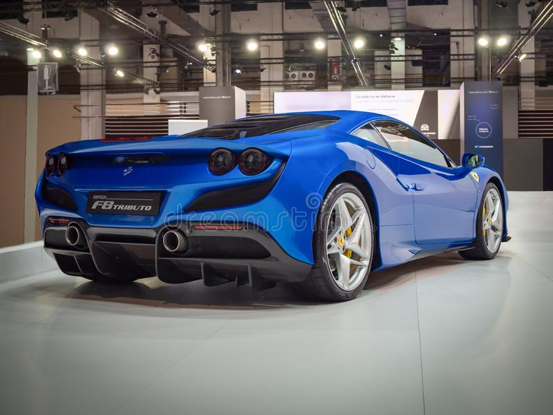 Ferrari F8 Tributo. BARCELONA, SPAIN-MAY 11, 2019: Ferrari F8 Tributo at the 100 years of the Automobile Exhibition royalty free stock image