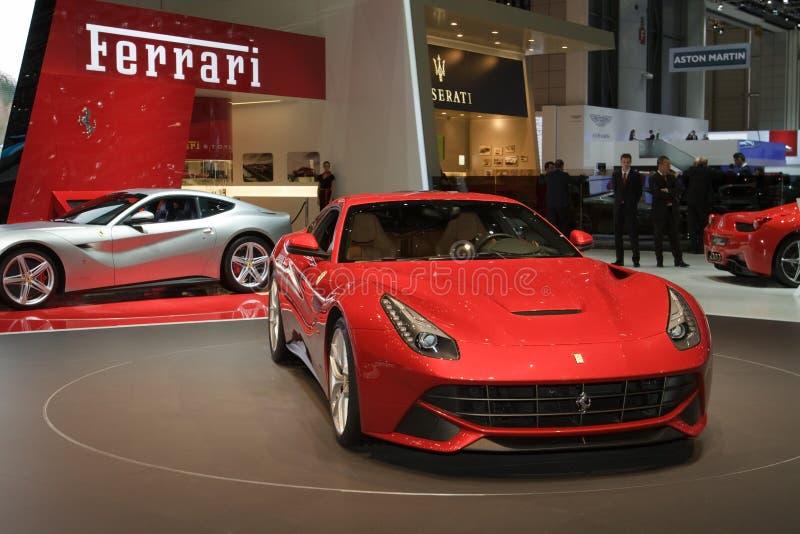 Ferrari F12 Berlinetta世界首放日内瓦2012年 免版税库存照片