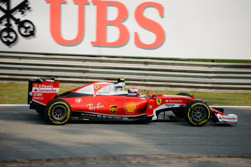 Ferrari Formula 1 at Monza driven by Kimi Räikkönen stock image