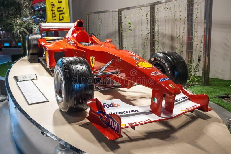 Ferrari formula one car on the podium. Ferrari World park Yas island Abu-Dhabi UAE royalty free stock photo