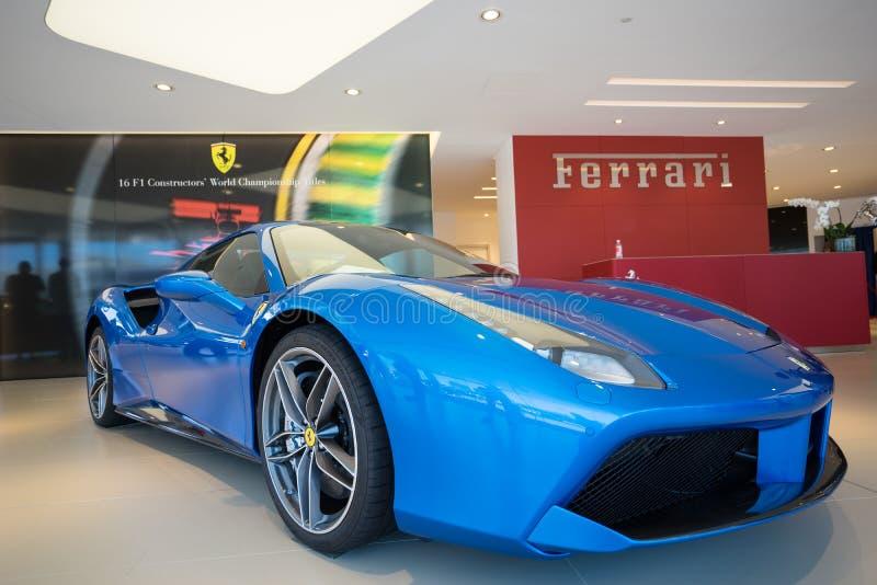 Ferrari Gold Coast Australien visningslokalinvigningsdag arkivfoto