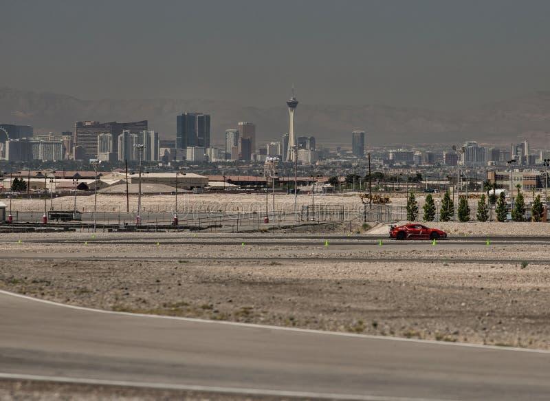 Ferrari 430 GT racerbil på Las Vegas Motor Speedway arkivbild