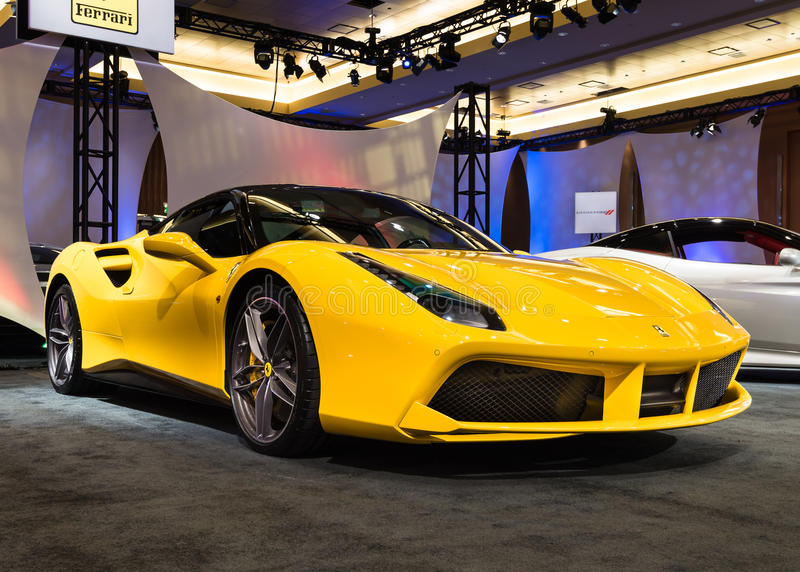 2016 Ferrari 488 GTB. DETROIT, MI/USA - JANUARY 10, 2016: A 2016 Ferrari 488 GTB at The Gallery, an event sponsored by the North American International Auto Show stock photo