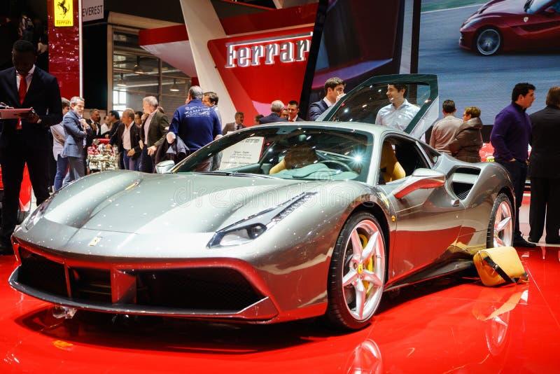 FERRARI 488 GTB, Salon de l'Automobile Geneve 2015 photo libre de droits