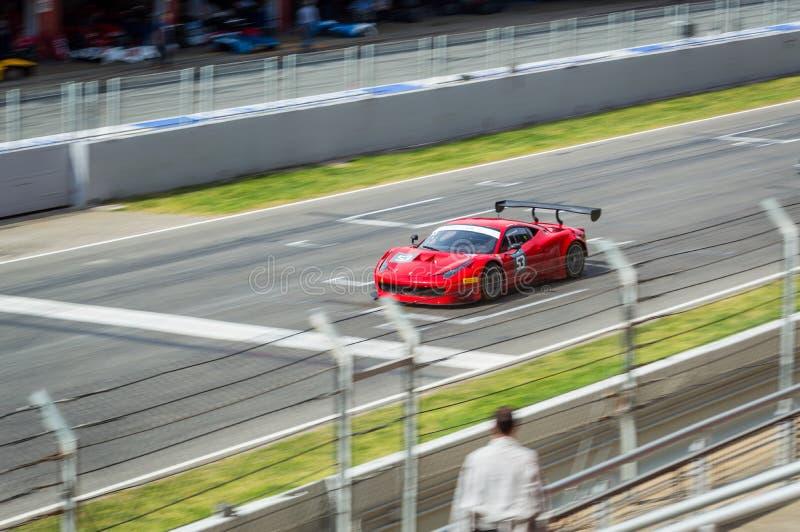 Ferrari 458 Italia GTE in Circuit de Barcelona, Catalonia, Spain. Ferrari 458 Italia in Circuit de Barcelona, Catalonia, Spain royalty free stock images