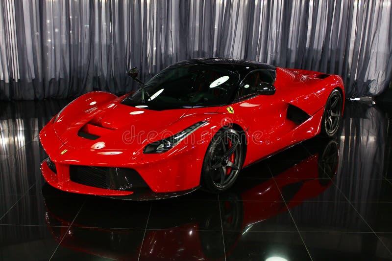 Ferrari LaFerrari hybrid supercar in showroom royalty free stock photos