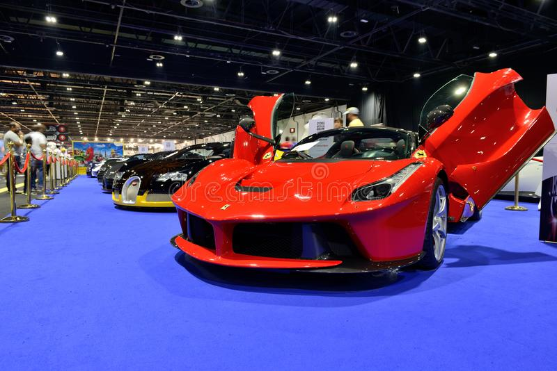 The Ferrari LaFerrari sportscar is on Boulevard of Dreams on Dubai Motor Show 2017 stock photo