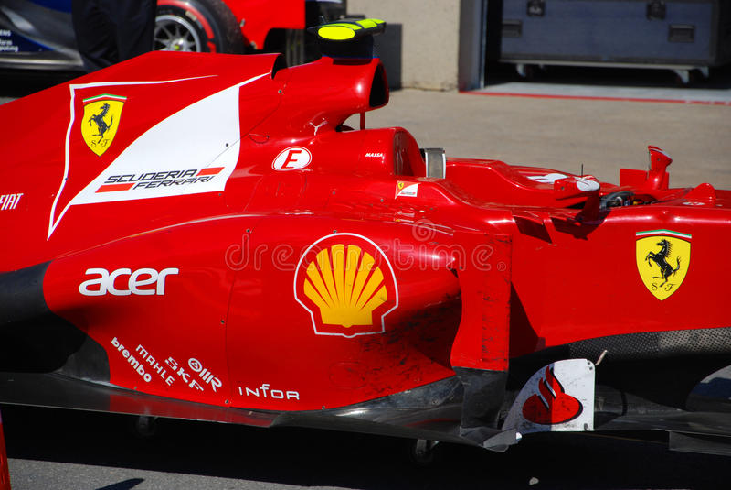 Ferrari-laufendes Auto in 2012 F1 kanadisches großartiges Prix stockfotos