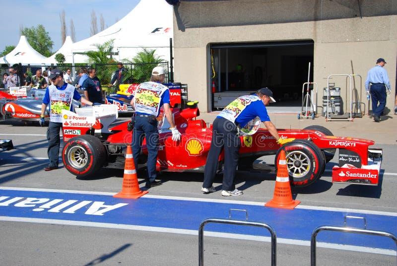 Ferrari-laufendes Auto in 2012 F1 kanadisches großartiges Prix lizenzfreie stockfotos