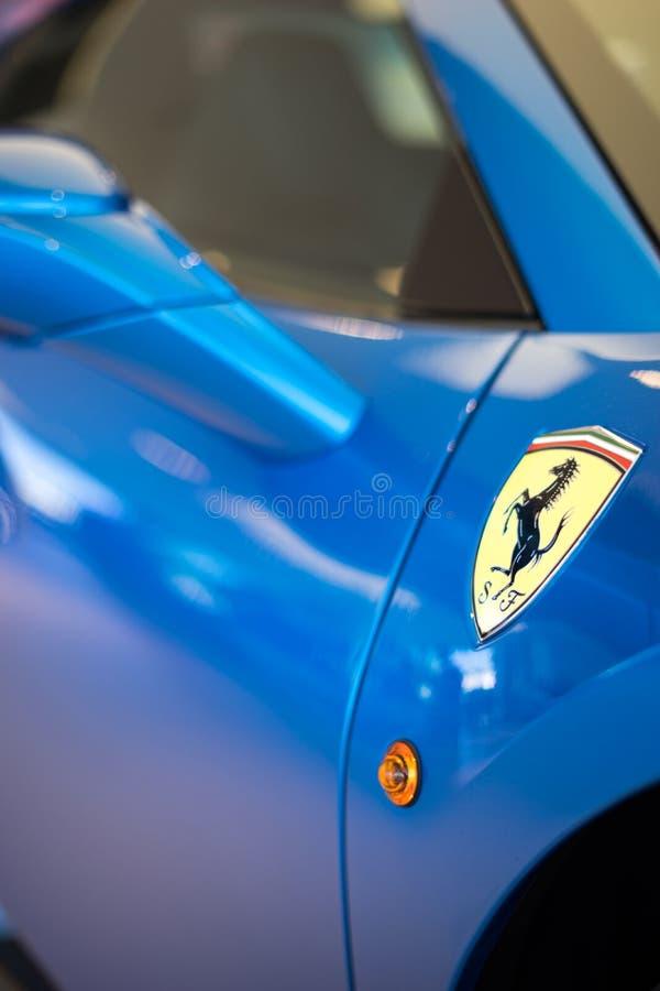 Ferrari Logo Blue royaltyfri foto