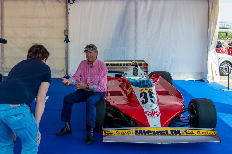 Ferrari old F1 in Circuit de Barcelona, Catalonia, Spain.  stock photos
