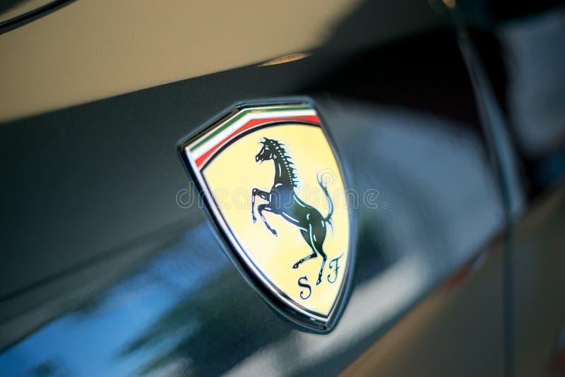 Ferrari Sports Car Logo Closeup royalty free stock photo
