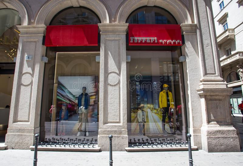 Ferrari store, producer of sport cars and racing cars, expecially famous in Formula 1 races in Milan, Italy. royalty free stock photos