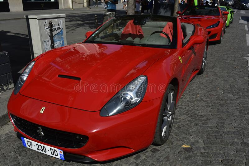 Ferraris for Round Trips in Paris, France stock image