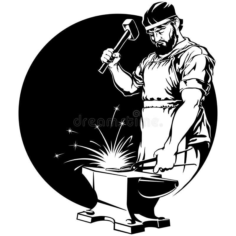 Ferreiro com ilustração do vetor do martelo ilustração do vetor