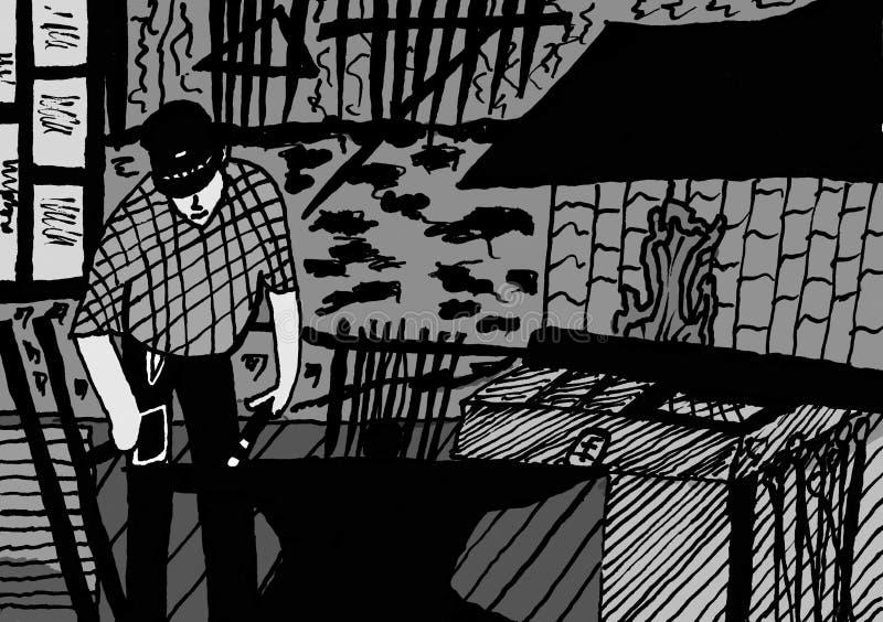 Ferreiro During Work - desenho da tinta ilustração do vetor