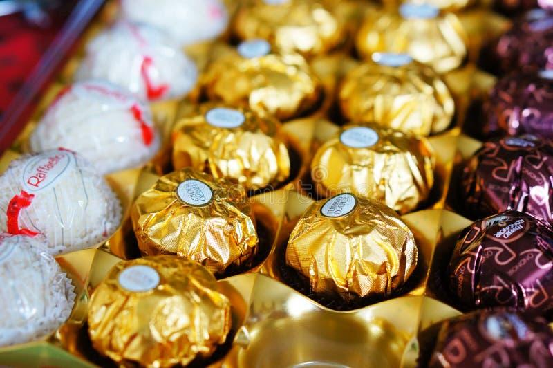 Ferrero chocolate. Close-up of Ferrero chocolate in a box stock photo