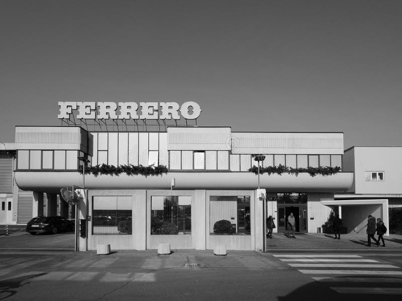 Ferrero-Hauptsitze in alba in Schwarzweiss stockfoto