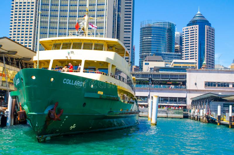 Ferries is the public transport ferry services operate on Sydney Harbour, The image at Circular quay wharf. SYDNEY, AUSTRALIA. – On November 26, 2017 stock photo