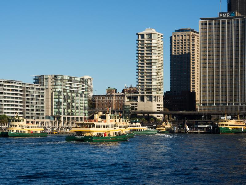 Ferries is the public transport ferry services operate on Sydney Harbour and the Parramatta River. The image at Circular quay. SYDNEY, AUSTRALIA. – On royalty free stock photos