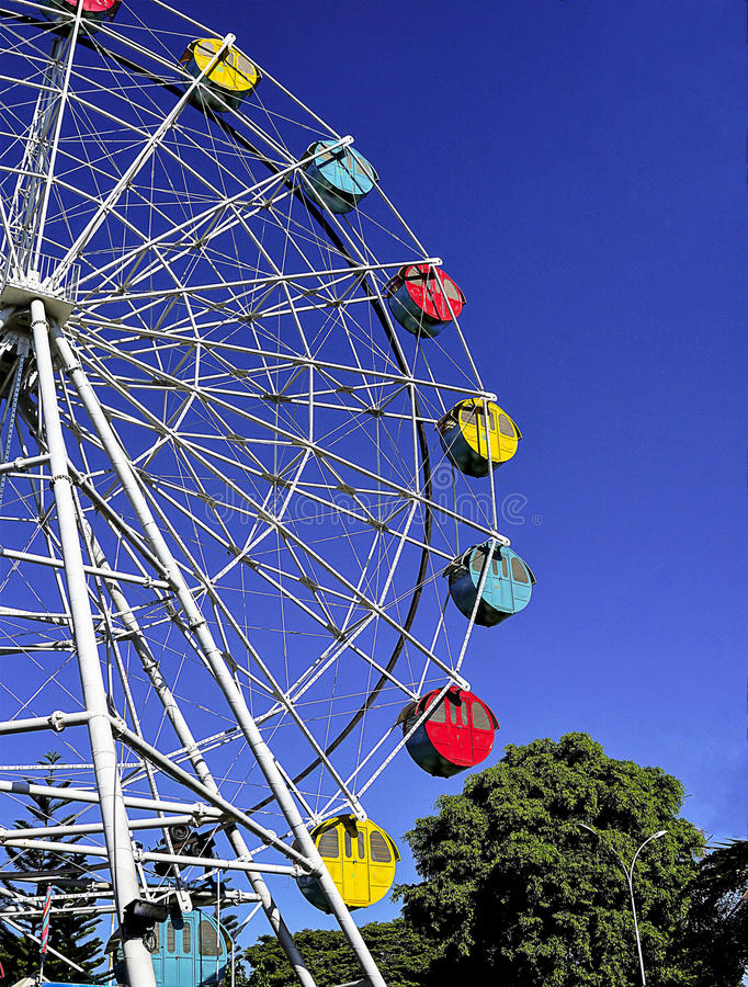 Ferries wheel. With bright blue sky in the background is captured from low angle royalty free stock images