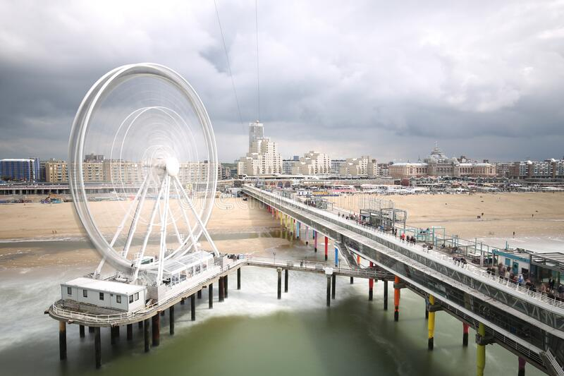 The Ferries wheel in The Hague. Long exposure photo of the Ferries wheel in The Hague royalty free stock photos