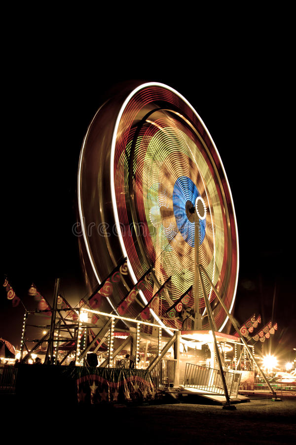 ferris晚上轮子 库存图片