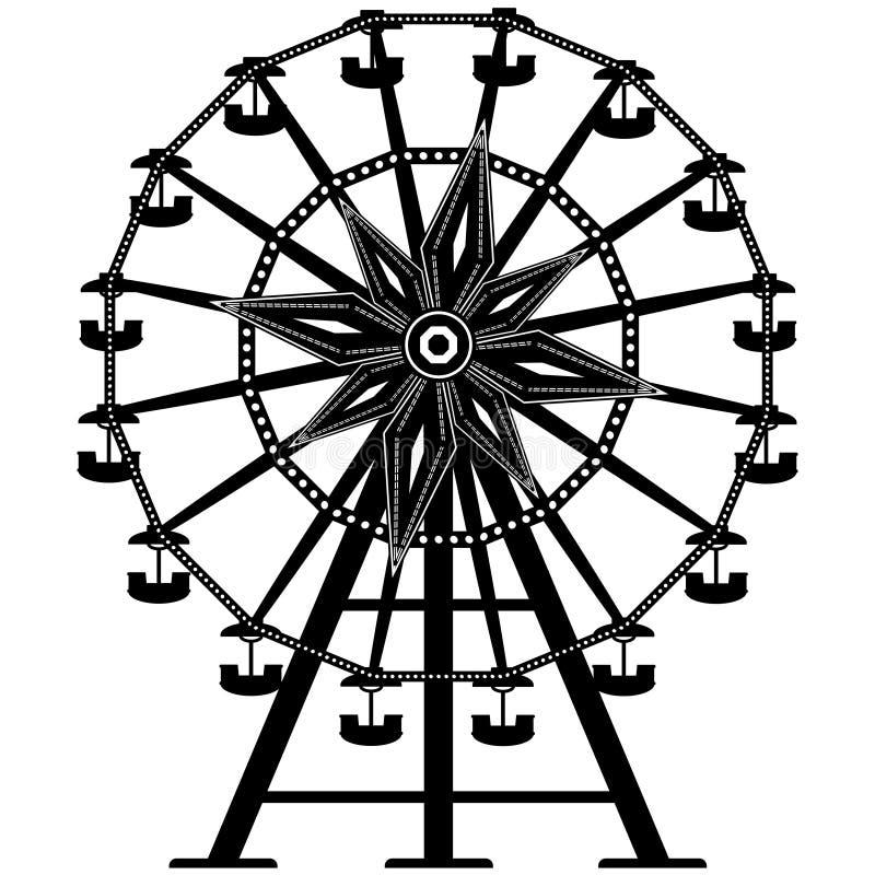 Ferris détaillé roulent dedans la silhouette illustration de vecteur