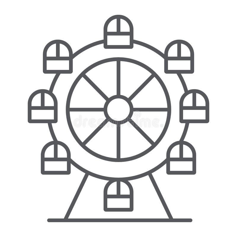 Ferris koła cienka kreskowa ikona, funfair i rozrywka, carousel znak, wektorowe grafika, liniowy wzór na bielu ilustracja wektor