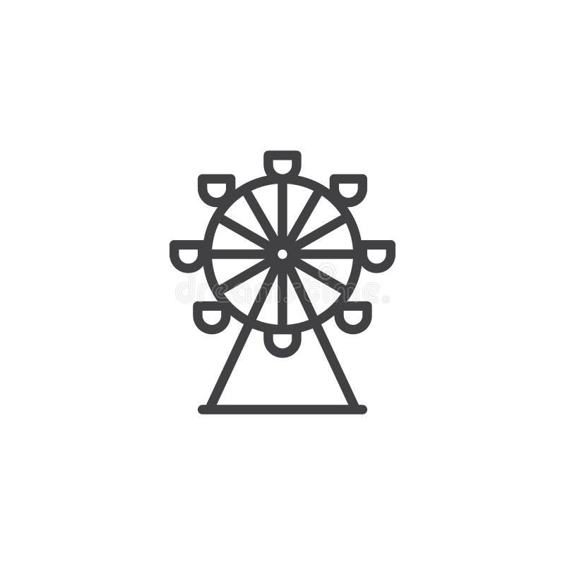 Ferris koła linii ikona ilustracja wektor