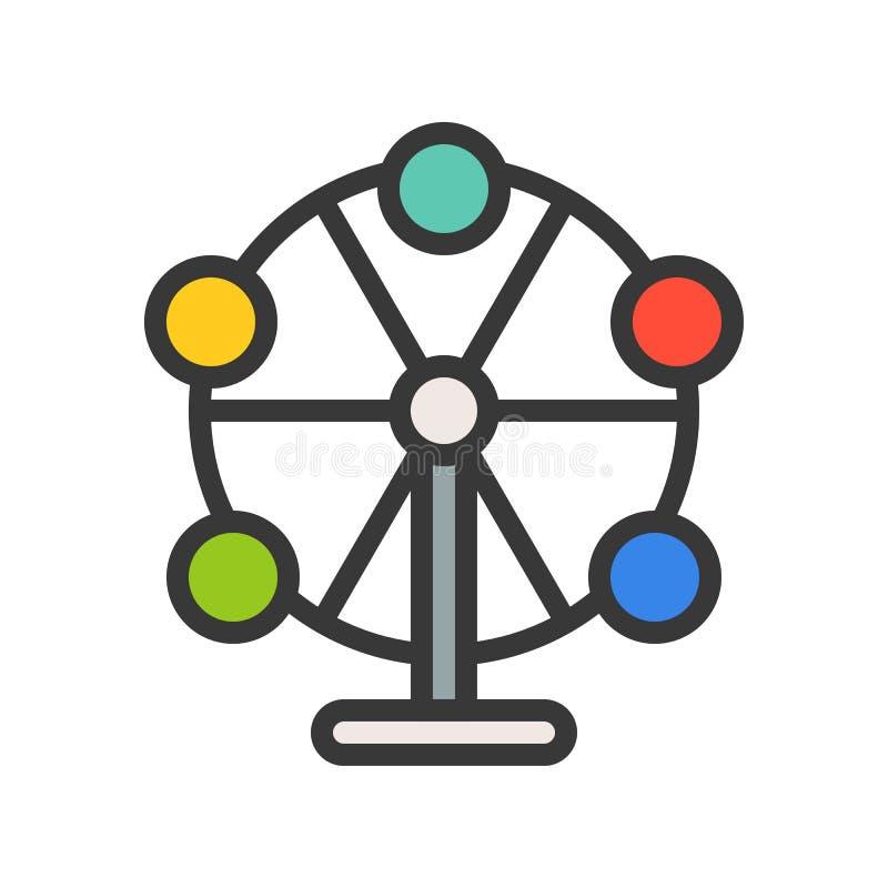 Ferris koła wektorowa ikona, wypełniający konturu stylu editable uderzenie ilustracji