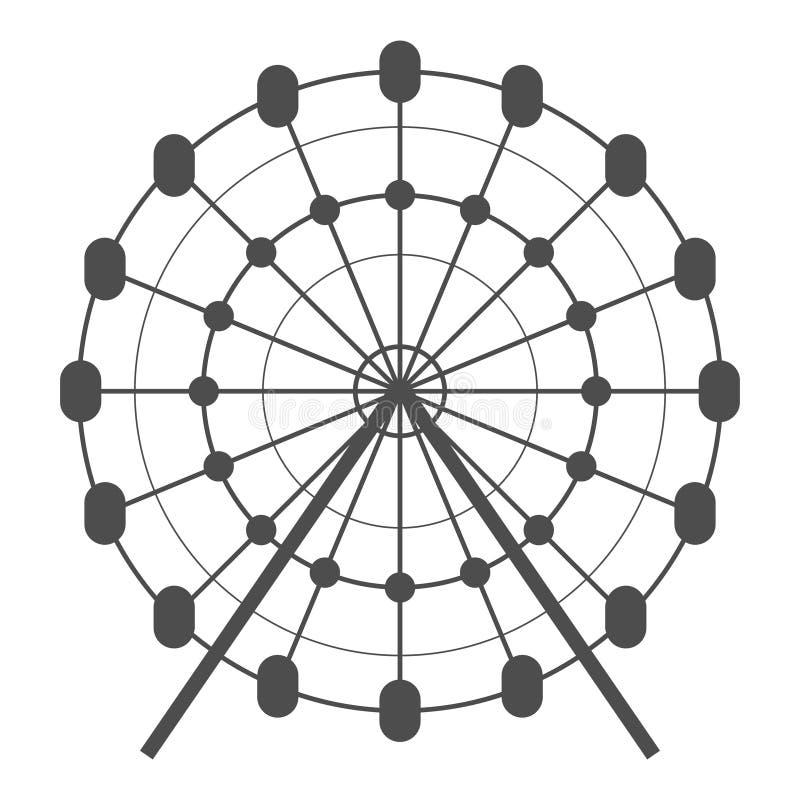 Ferris koła wektoru ikona Carousel w parkowej ikonie Rozrywkowa przejażdżki ilustracja Prosty biznesowy pojęcie piktogram na biel ilustracja wektor