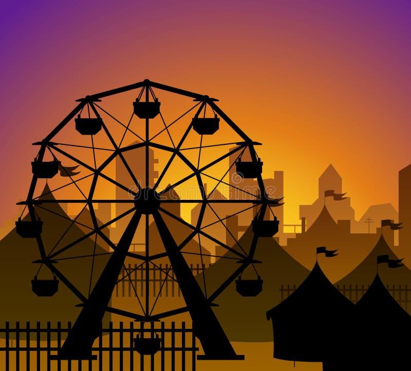Ferris koło i cyrk sylwetka ilustracji