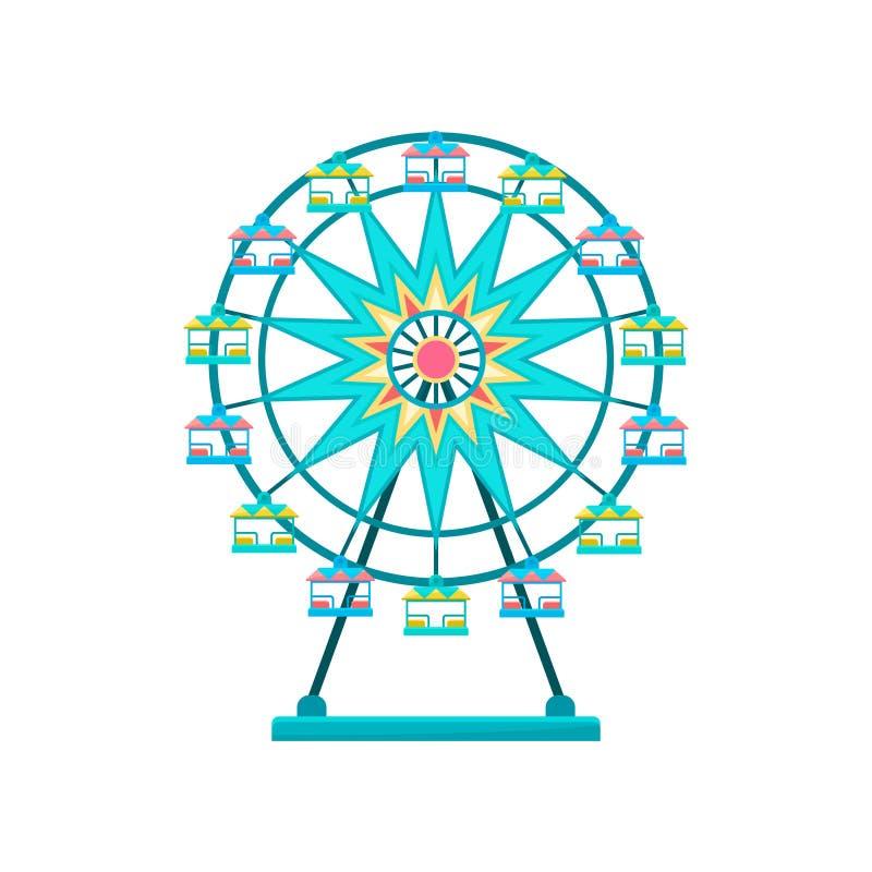 Ferris koło, parka rozrywki elementu wektorowa ilustracja na białym tle ilustracja wektor