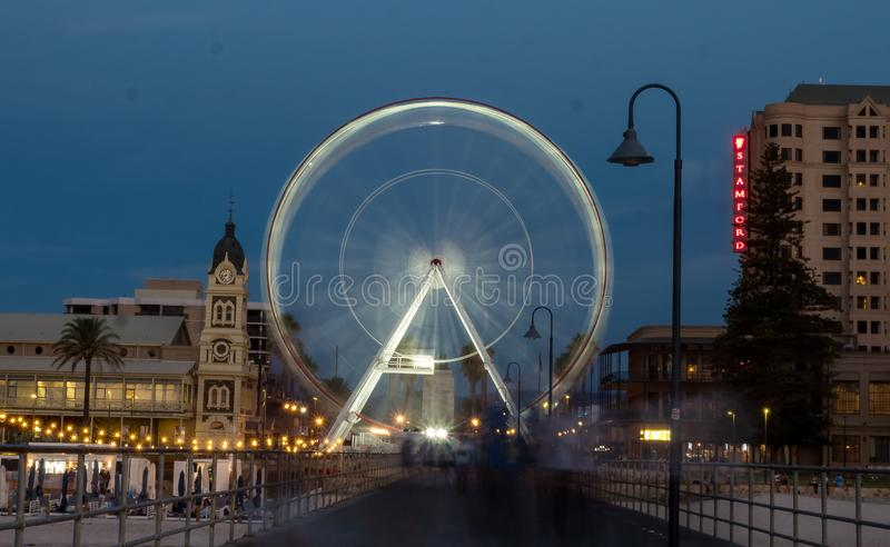 Ferris koło przy Adelaide plażą fotografia royalty free