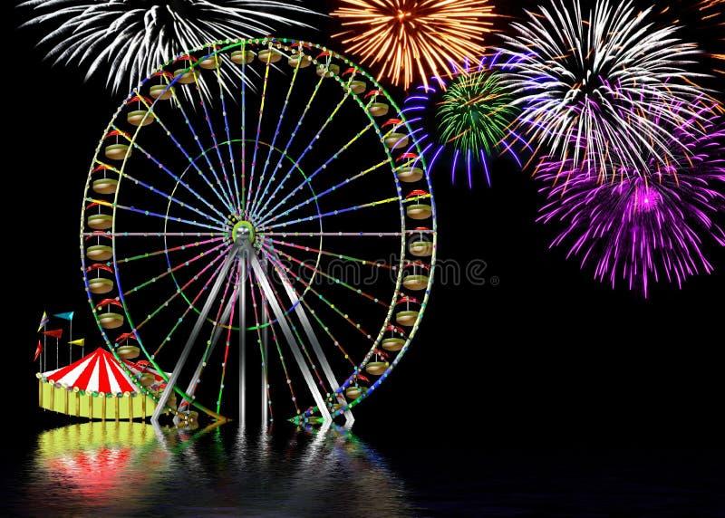 Ferris koło przy parkiem rozrywki Baclground royalty ilustracja