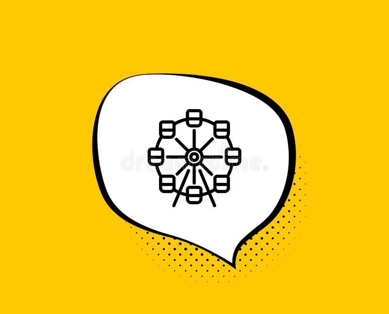 Ferris ko?a linii ikona Parka rozrywki znak wektor royalty ilustracja