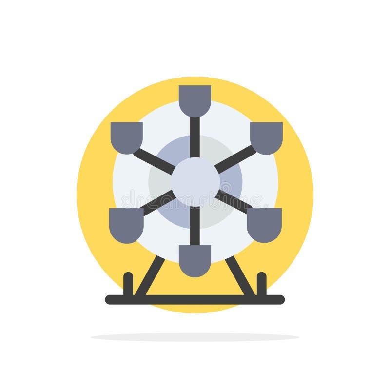 Ferris, parc, roue, icône plate de couleur de fond abstrait de cercle du Canada illustration stock