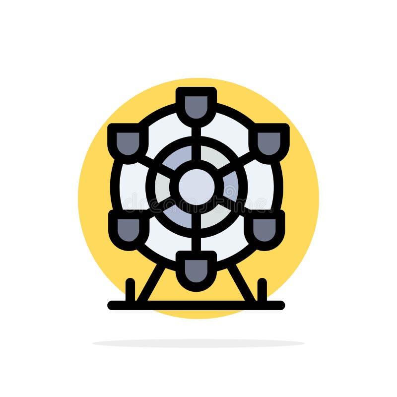 Ferris, parc, roue, icône plate de couleur de fond abstrait de cercle du Canada illustration libre de droits