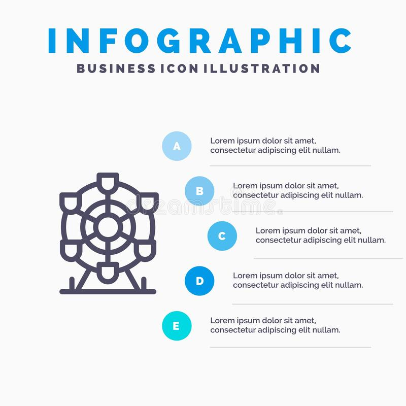 Ferris, parc, roue, ligne icône du Canada avec le fond d'infographics de présentation de 5 étapes illustration libre de droits