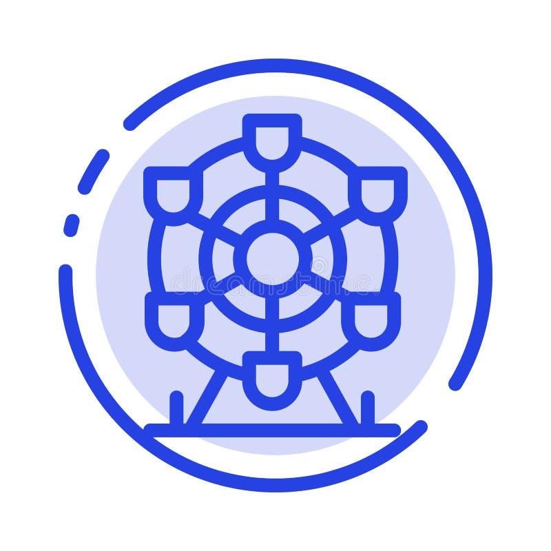 Ferris, parc, roue, ligne pointillée bleue ligne icône du Canada illustration de vecteur