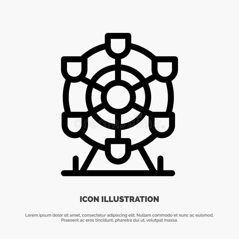 Ferris, parc, roue, ligne vecteur du Canada d'icône illustration stock