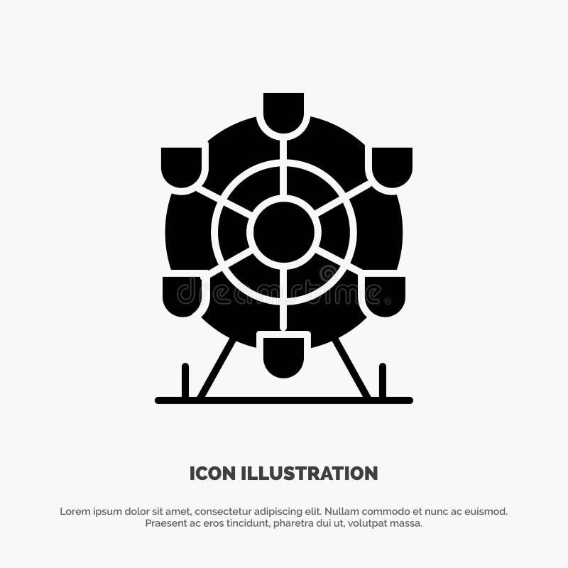 Ferris, parc, roue, vecteur solide d'icône de Glyph du Canada illustration libre de droits