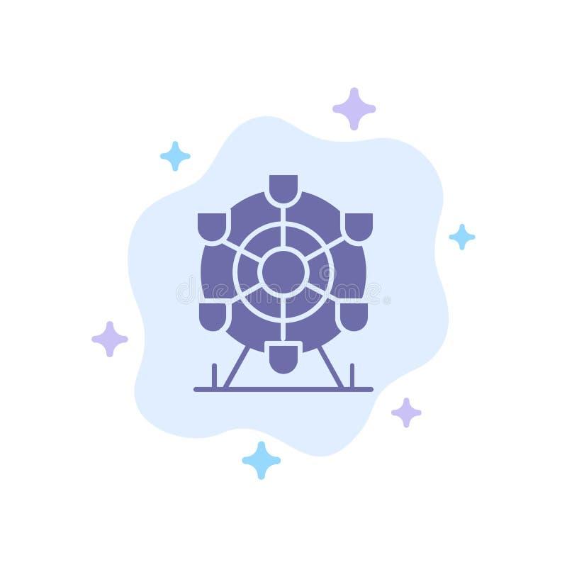 Ferris, parque, rueda, icono azul de Canadá en fondo abstracto de la nube stock de ilustración